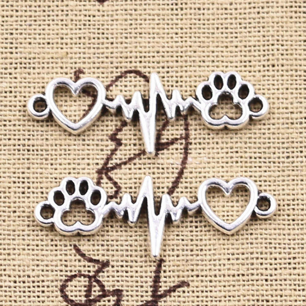8pcs Charms ECG heartbeat Connector สุนัข Claw Link 12X34 มม.จี้เงินโบราณทำ DIY ทิเบตเงินหาเครื่องประดับ