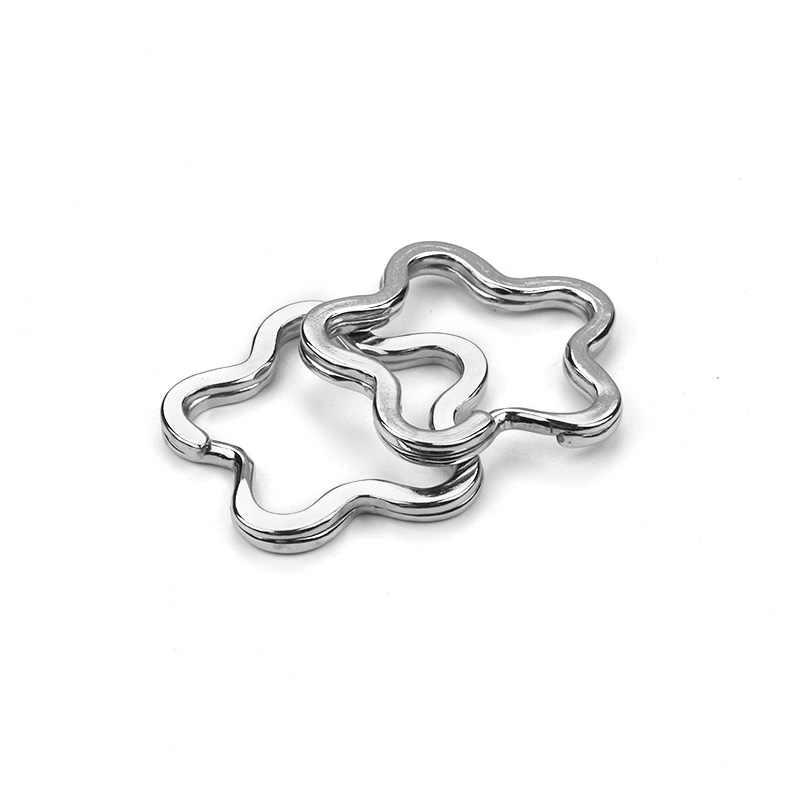 10 pçs/lote Liga de Metal Cor Prata Estrela Em Forma de Coração Chave anéis DIY Chaveiros Jóias Para Chave Do Carro Bolsa
