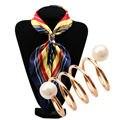 fashion nice rhinestone scarf tube flight attendants scarf buckle for Lady jewelry brooch imitation pearl Scarf clips