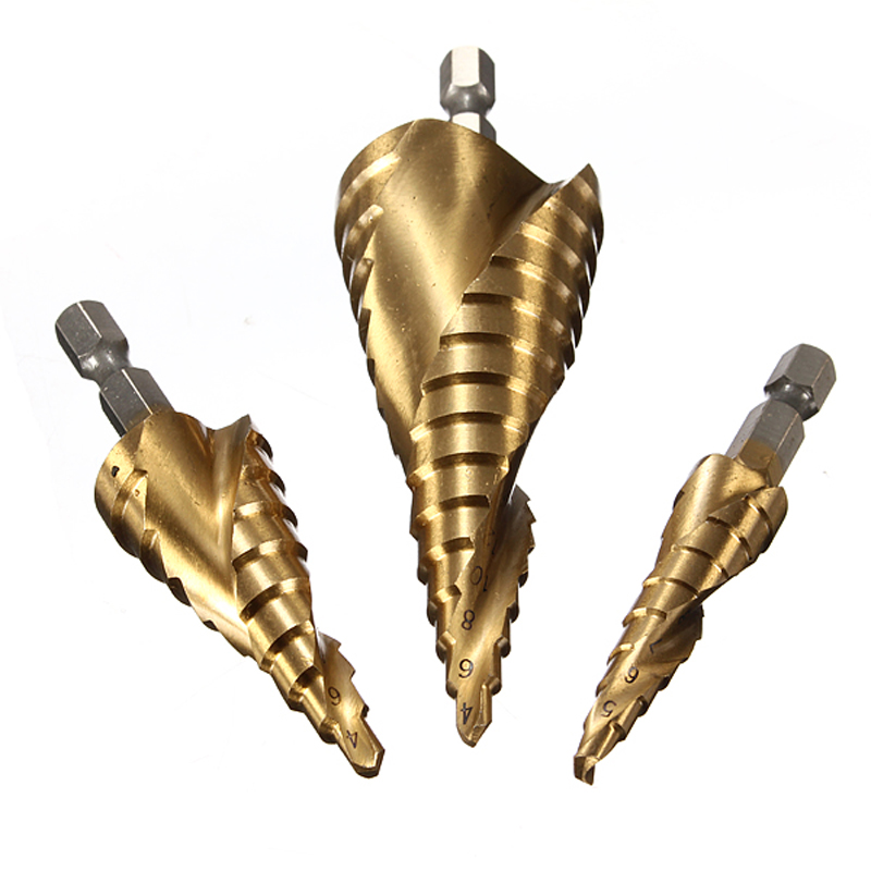 Haute qualité ! 3pcs HSS Spiral Grooved Step Drill Drills Bit 4mm à - Foret - Photo 2