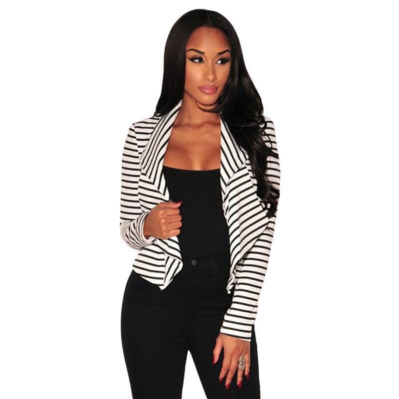 Women Black White Striped Blazer Jacket Ladies Blazer In -9501