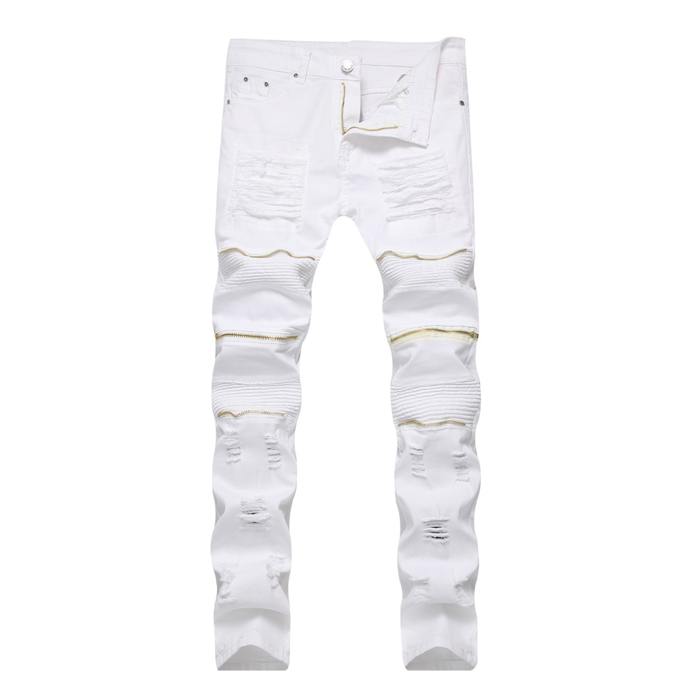 Dropshipping Red White Black Ripped Denim Pant Knee Hole Zipper Biker Jeans Men Women Slim Fit Skinny Destroyed Torn Jean Pants men s cowboy jeans fashion blue jeans pant men plus sizes regular slim fit denim jean pants male high quality brand jeans