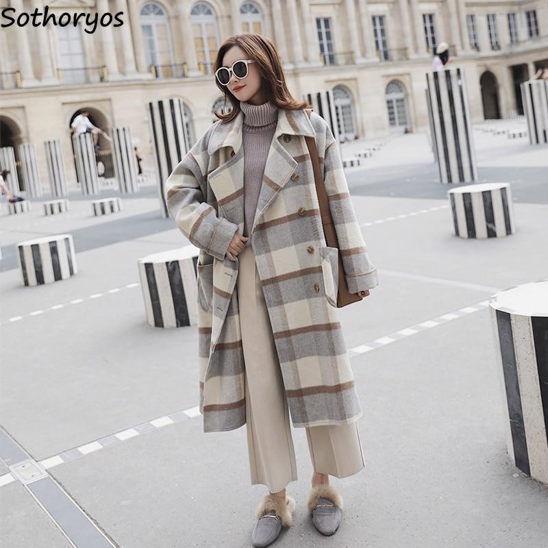 Blends Women Thicker Wide-waisted Plaid Retro Elegant Turn-down Collar Long Sleeve Womens Coats Winter Warm High Quality Outwear