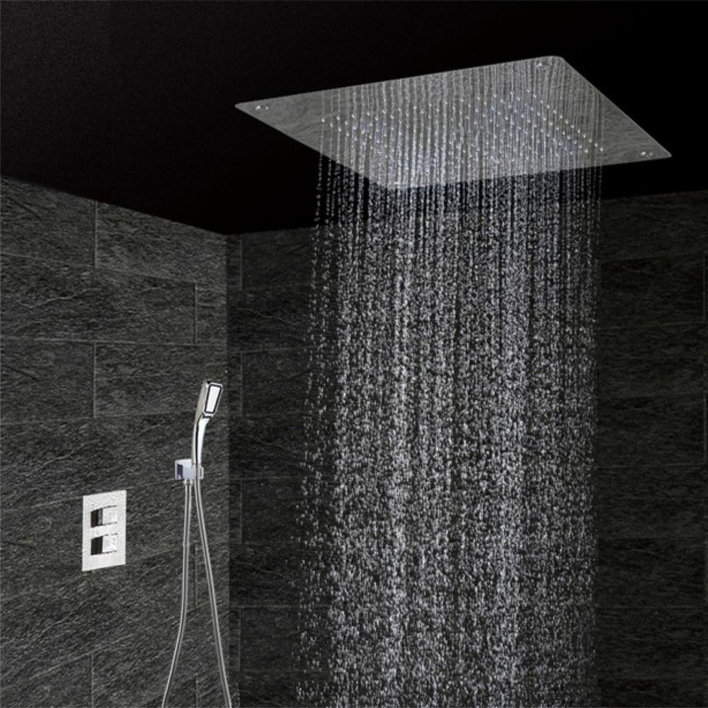 Thermostatic 3//4 Way Valve Black Bathroom Rain Shower Faucet Gel Holder Shelf