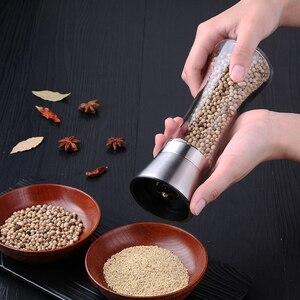 Image 2 - Moinho de sal e pimenta de aço inoxidável premium moedor de sal e pimenta abanadores corpo de vidro especiarias com rotor cerâmico ajustável