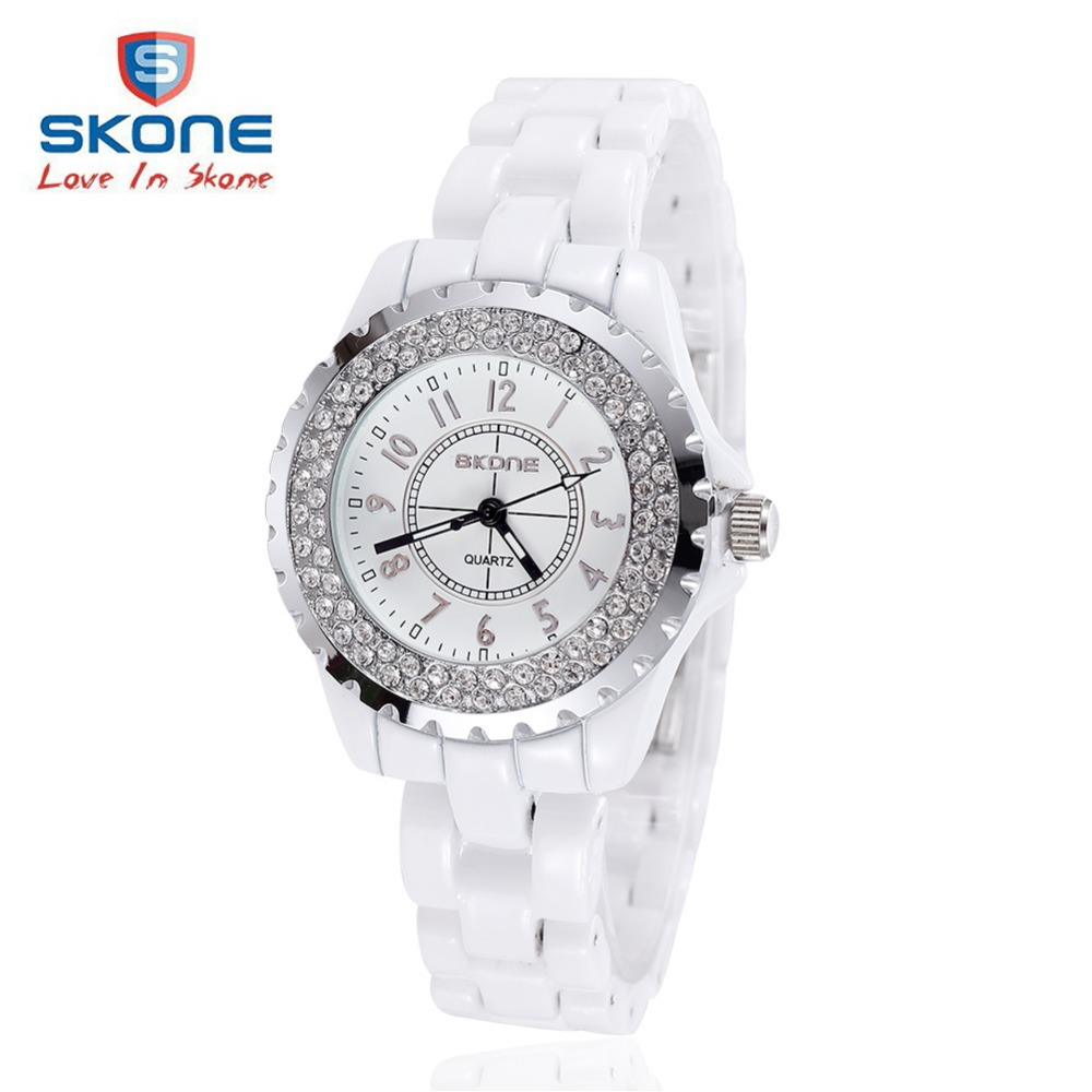 SKONE Fashion Ceramic Luminous Watches Women Luxury Brand Dress Quartz Watch Ladies Watch Watches Clock Relogio Feminino Hodinky