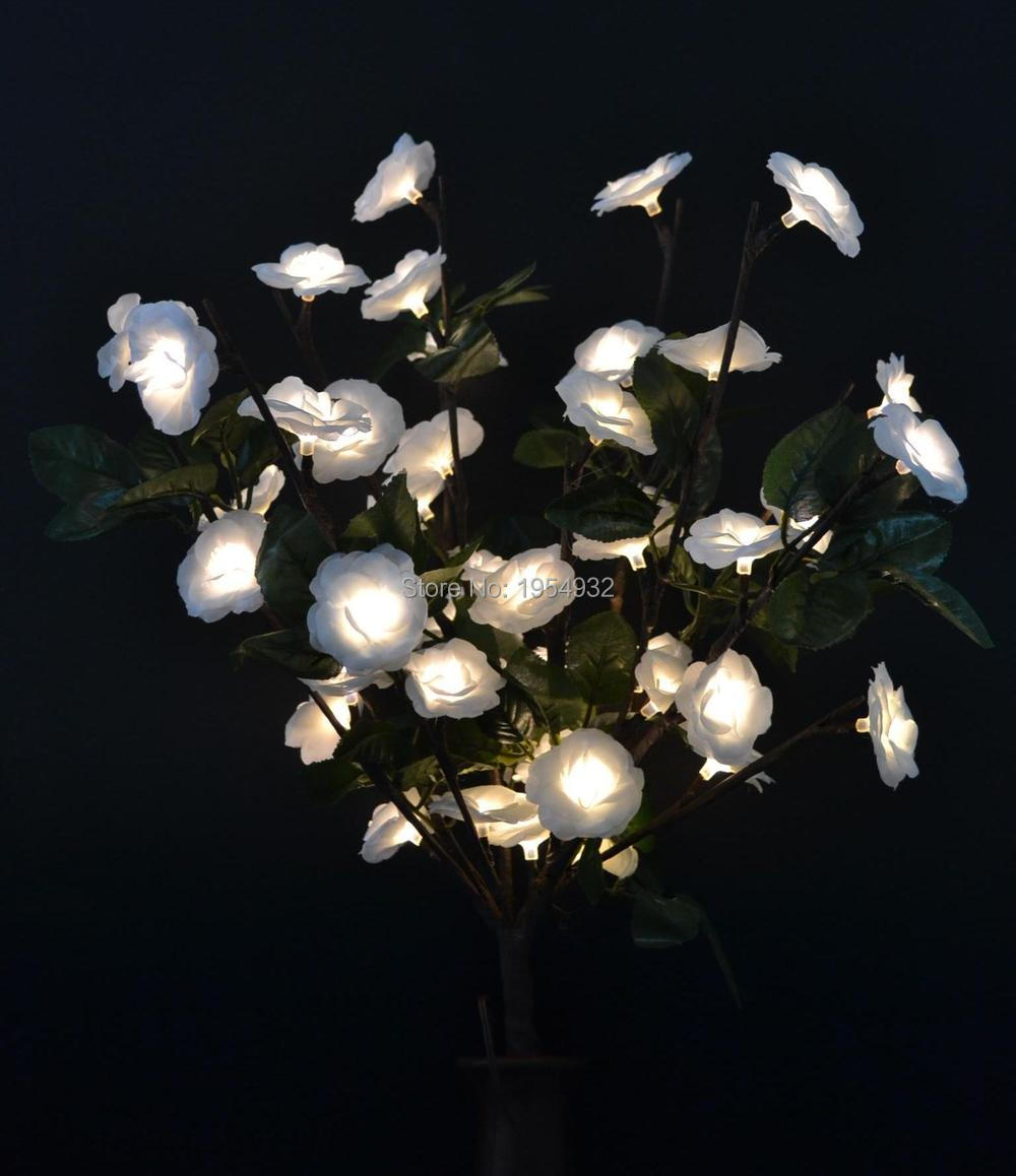 Us 16 88 Free Shipping Led Blossom Mini Rose Flower Branch Light 20 With 48led Plus Green Leaf Decoration Home Party Wedding Christmas In