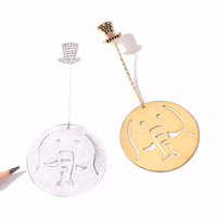 ZEGL designer fun elephant earrings for women round earrings long temperament personality funny exaggerated jewelry