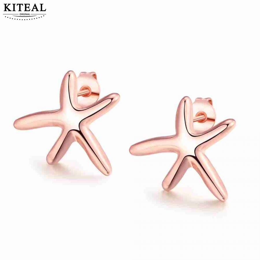 Wholesale Newest rose Gold/silver color earings fashion jewelry Sea star stud earrings pendientes