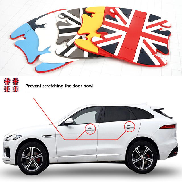 4pcs Universal Soft Rubber Car Door Wrist Protective Film fit for MINI Auto Handle Scratches Stickers Fashion Decals Accessories