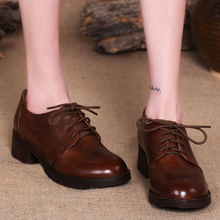 2017 Genuine Leather Women Shoes Pumps Lace up Round Toes Cowhide Handmade Shoes Retro Style