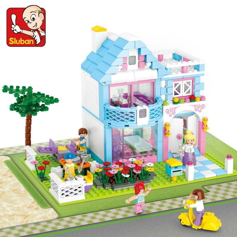 SLUBAN 0535 Girl Friends Beauty Garden Villas Figure Blocks Educational Construction Bricks Toys For Children Compatible Legoe kingsley amis riverside villas murder