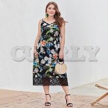 CUERLY Elegant lace black floral plus size dress women V-neck spaghetti strap long vestidos Sexy summer holiday ladies dresses