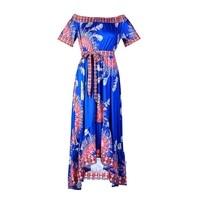 Women's Summer Fashion Dress Slash Neck Long Print Loose Sexy Wrap Dress Short Casual Loose Ladies Vestidos Verano 2018 HM