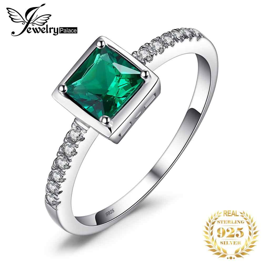 JewelryPalace Square Created Green Emerald Solitaire Ring 925 Sterling Silver Rings for Women Fine Jewelry Engagement Rings