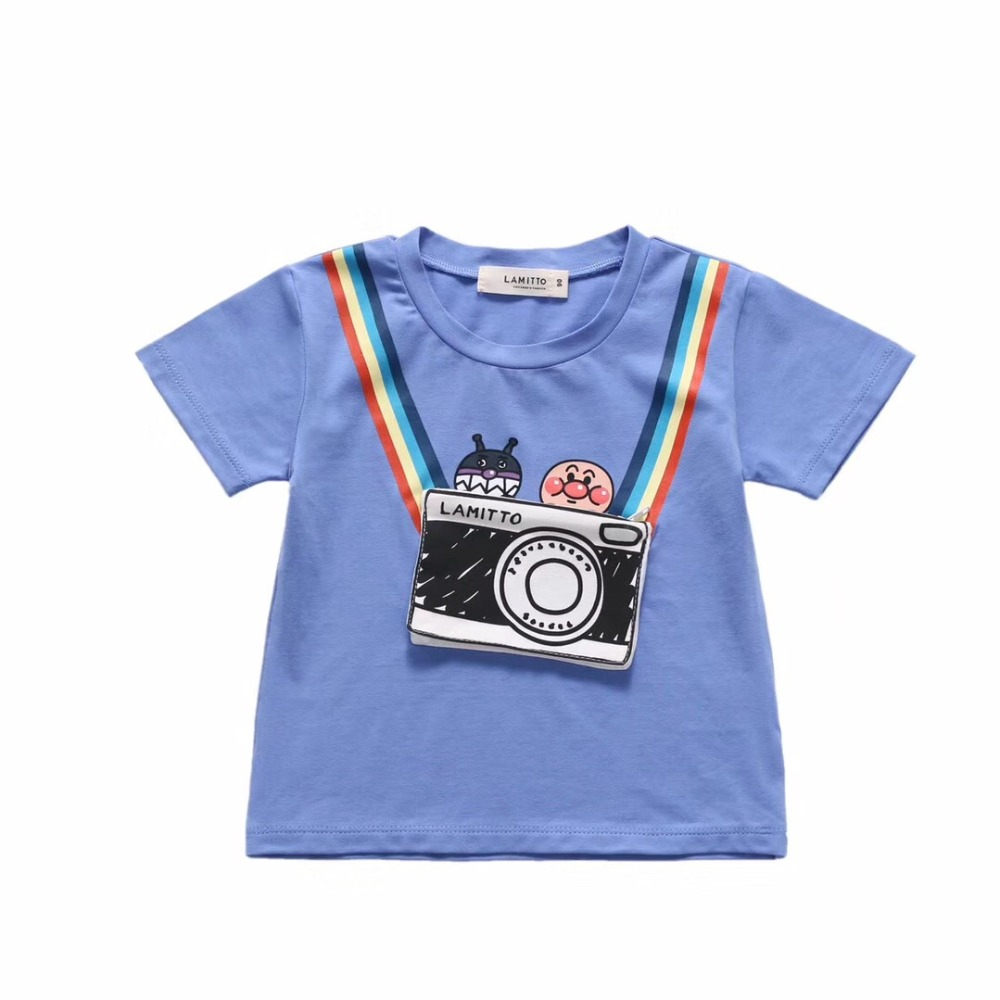 3a9af48fa 2019 Toddler boy shirts blue pink color pockets design sweet rainbow  pattern cute baby boys girls Tees
