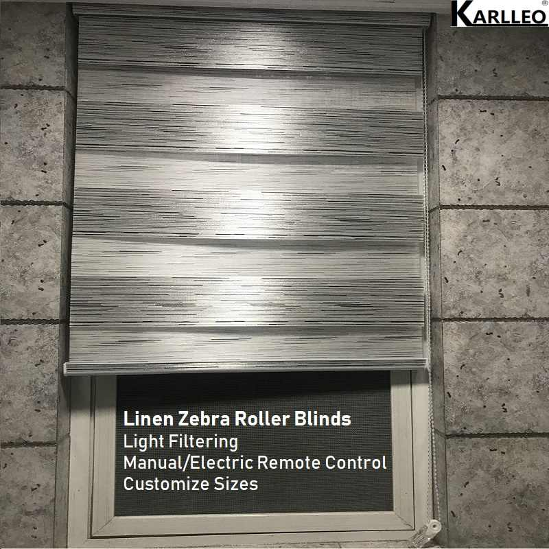 High Quality Linen Zebra Roller Blinds Shades Curtain Customize Sizes