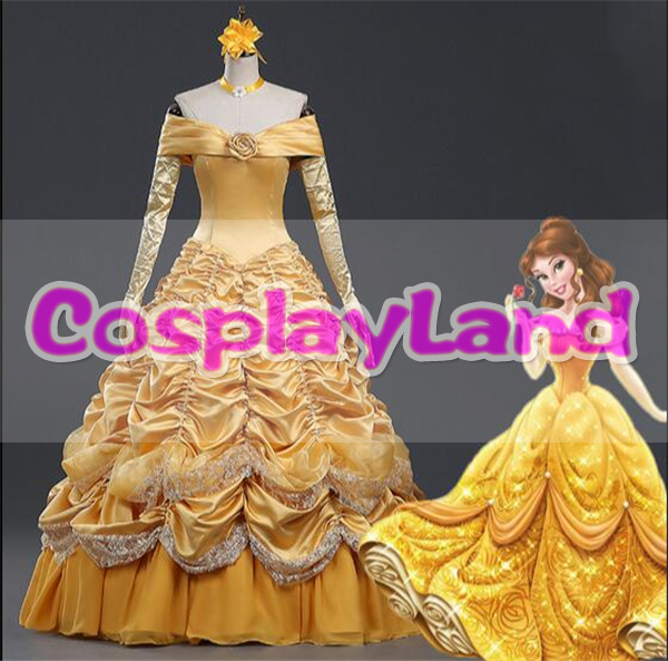 Beauty and the Beast Costume Fancy Halloween Costumes for Women Princess Belle Cosplay Costume Yellow Belle Dress Costume