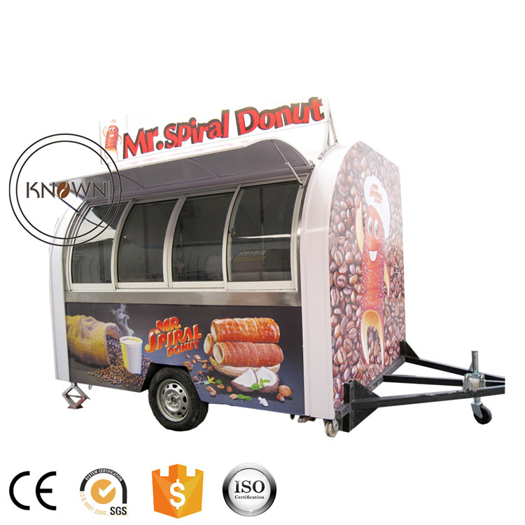 Wholesale price customized Push-pull window mobile catering food trailer cart fast food truck