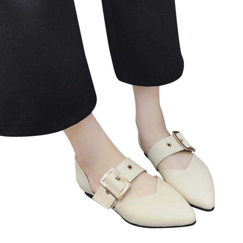 Women Flat Heel Shallow Mouth  Pure Color Buckle Strap Casual Shoes Shoes  Women Sandals Hot Sale Fashion Summer Sweet Women