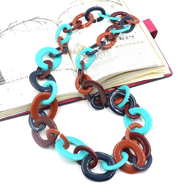 Bijoux collier femme 2016 nueva venta al por mayor grande collar de cadena larga maxi acrílico cadena chunky declaración de moda joyería moda