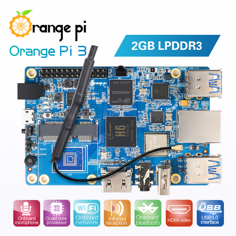 Orange Pi 3 H6 2GB LPDDR3 AP6256 Bluetooth5.0 4*USB3.0 Support Android 7.0, Ubuntu, Debian Звуковая карта