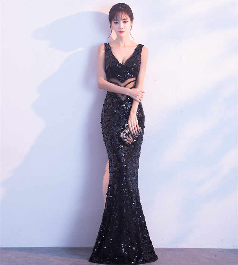 ... JaneVini Sexy Bling Rose Gold Sequins Bridesmaid Dresses Long Mermaid  Shiny Wedding Guest Dress V Neck abfcb7ae57e9