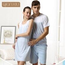 Qianxiu Pyjamas Für Männer Sommer Streifen Baumwolle Frauen & Männer Pyjama set kurzarm shorts Lounge Wear