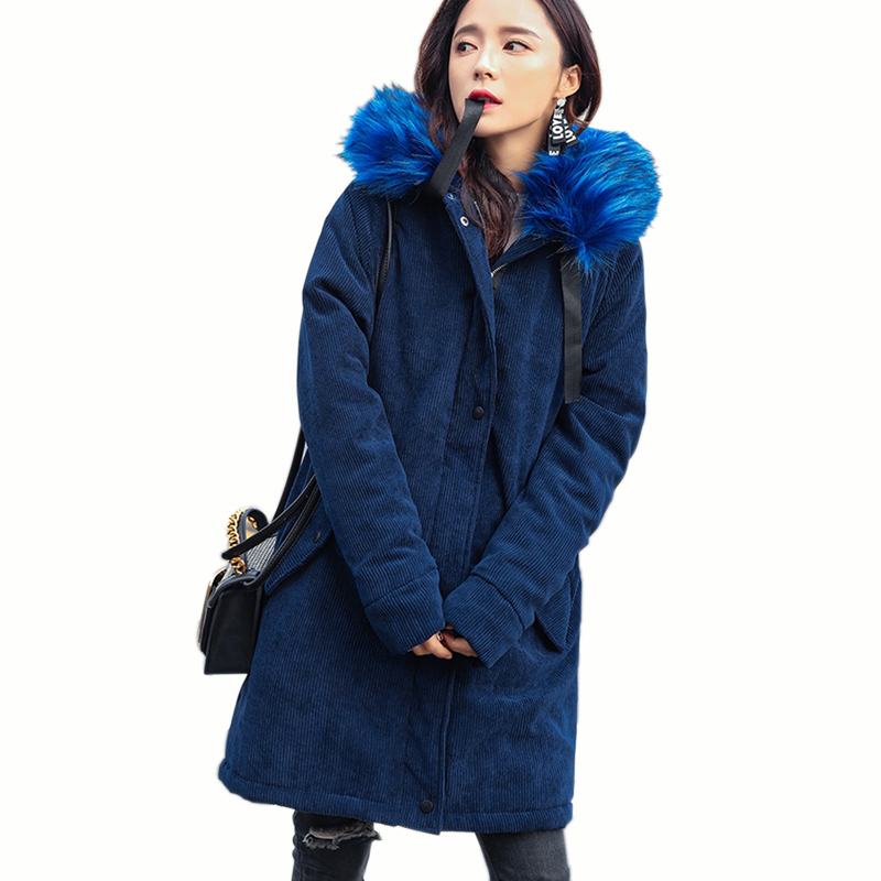 Winter women fashion fur collar Cotton coat warm 2017 new army green parkas long casual jacket Female Lambswool coat wadded coat 2017 winter new clothes to overcome the coat of women in the long reed rabbit hair fur fur coat fox raccoon fur collar