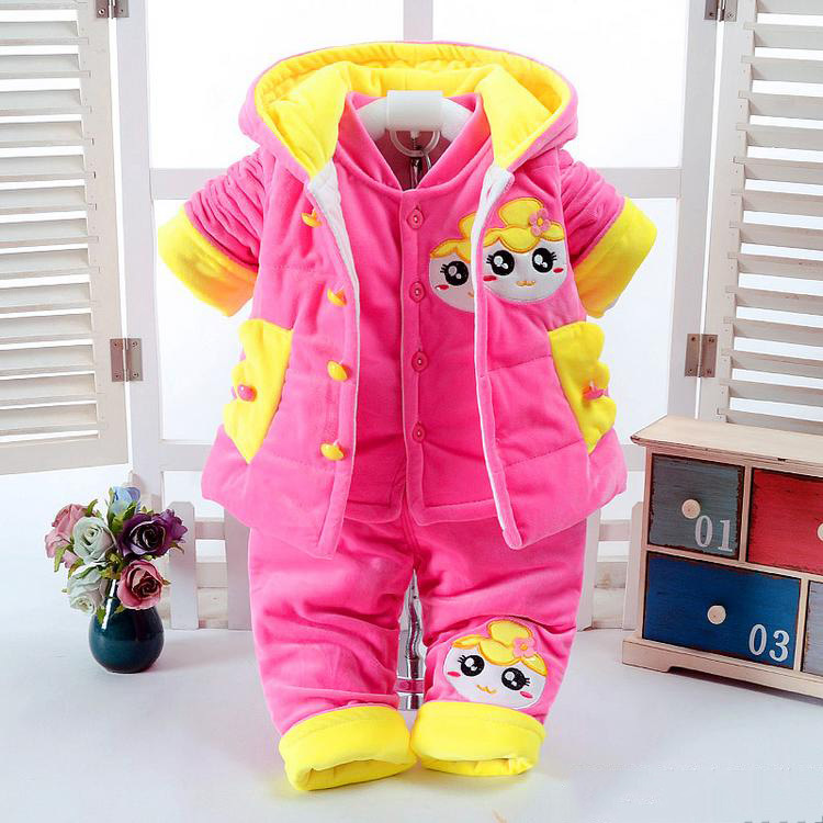 2017 Winter Newborn Baby Girl Clothes Set 3 Pieces Cartoon Cotton Thick Warm Coat+Vest+Trousers Infant Clothing for 0-2 Years newborn baby boy girl 5 pcs clothing set cotton cartoon monk tops pants bib hats infant clothes 0 3 months hight quality