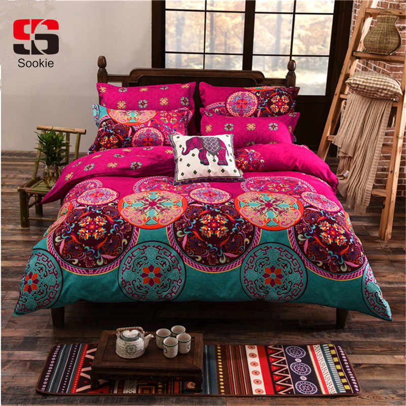 Sookie Bohemian Bedding Set Luxury 3/4pcs Bed Linens Set king queen size Duvet Cover Boho Style Girl Bedding Decoration