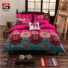 Sookie Bohemian Bedding Set Luxury 3/4pcs Bed Linens Set king queen size Duvet Cover Boho Style Girl Bedding Decoration(China)