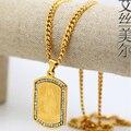 Exército trado Jesus pingente de 76 cm de alta qualidade moda Hiphop ouro 24 k banhado a ouro cadeia de jóias homens