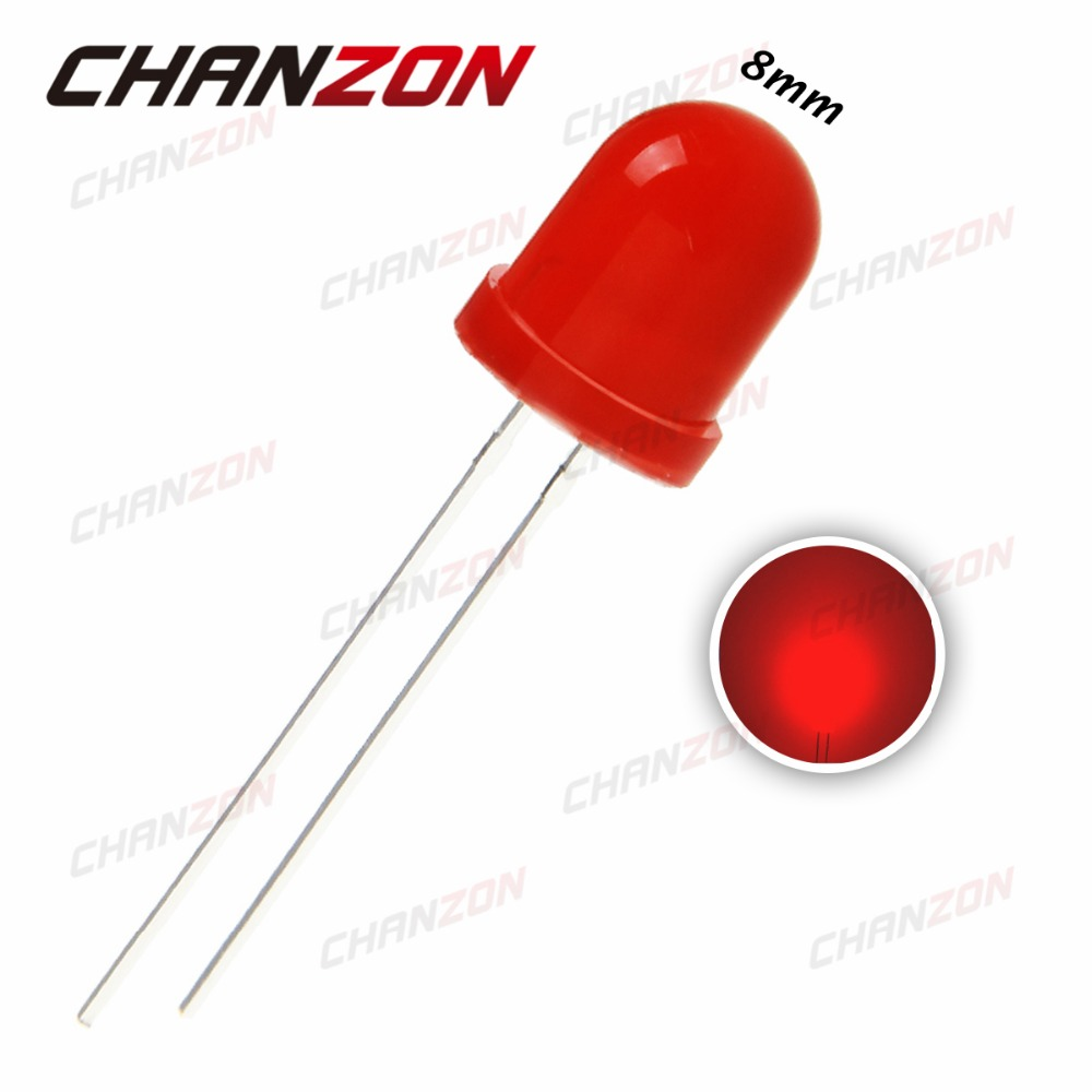 50pcs 8mm LED Diode Red Diffused Round DIP 20mA 2V Light Emitting Diode Lamp Through Hole Bulb Wide Angle Electronics Components