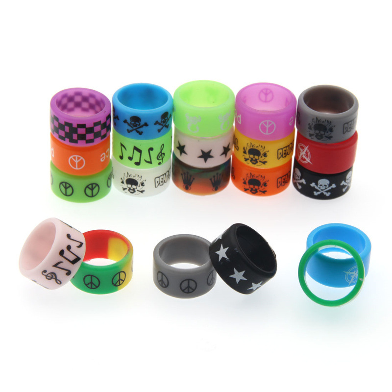 Qheating 10/200pcs Colorful Silicone Band Non-Skid Ring Inner Diameter 18mm E Cig Accessories Silicone Rings Necklace For E Ciga