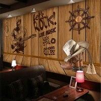 beibehang Custom 3D creative personality nostalgic wooden sailing large music theme wallpaper murals restaurant hotel coffee