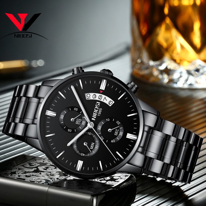 2019 NIBOSI Gold Quartz Watch Top Brand Luxury Men Watches Fashion Man Wristwatches Stainless Steel Relogio Masculino Saatler 4