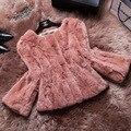 2015 горячая распродажа мода натуральный мех для женщин тонкий короткий рекс кролика куртка colete feminino DX139
