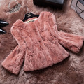 2015 hot sale da moda casaco de pele real para mulheres de slim curto rex coelho casaco de peles colete feminino DX139