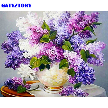 GATYZTORY Frame Picture Purple Flower DIY Painting By Numbers Modern Home Wall Art Canvas Painting Hand painted 50x65cm Artwork