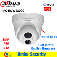 Dahua HDW4300C Built In MIC POE IR30m HD 3MP IK10 IP66 Lens3 6mm IP Camera Security