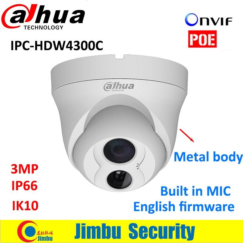ФОТО Dahua IP dome 3MP Camera HDW4300C Built-in MIC Metal body POE CMOS IR 30m IK10 1080p IP66 security cctv Camera IPC-HDW4300C