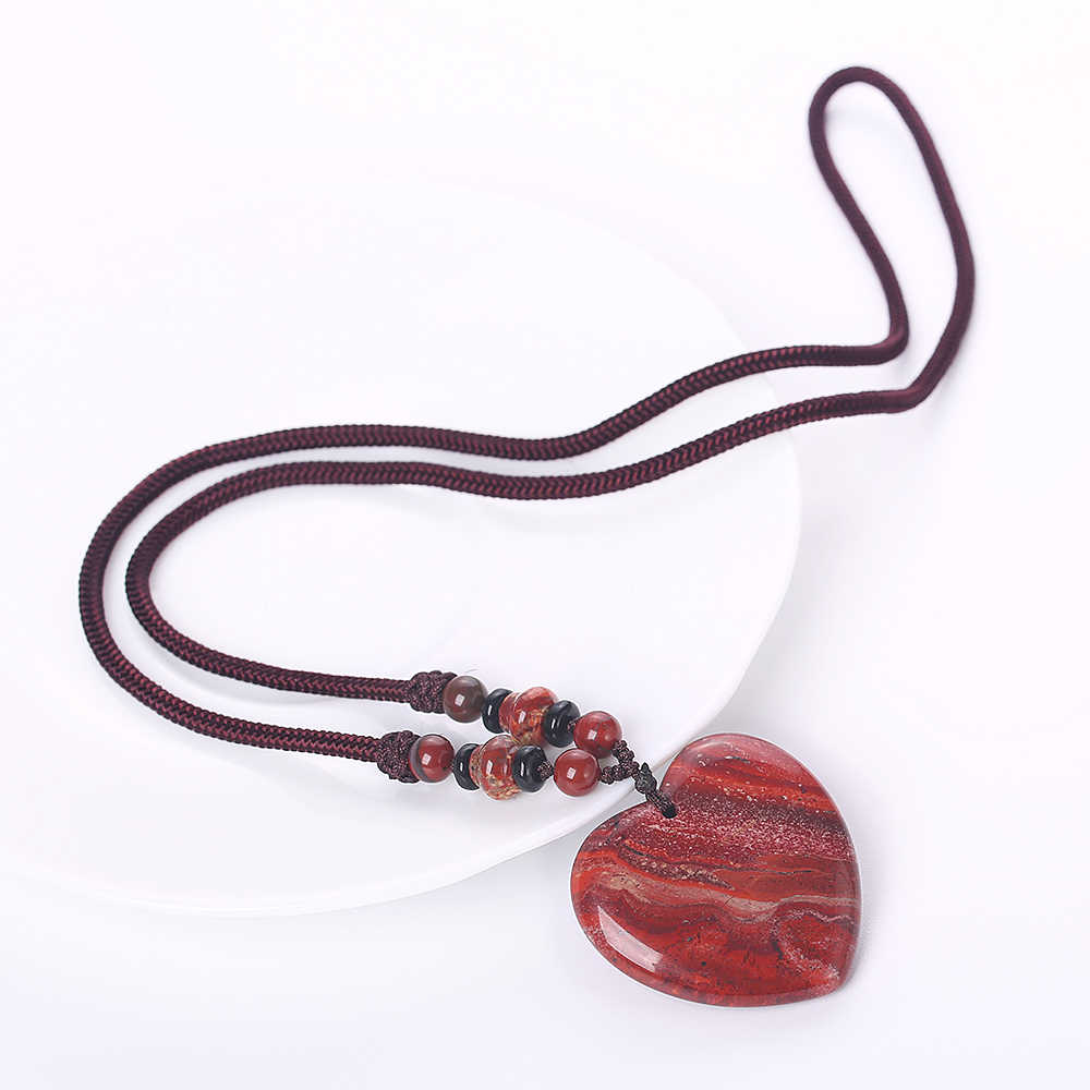 Yumten สีแดง Jasper จี้สร้อยคอโรแมนติกเครื่องประดับหัวใจผู้หญิง Vintage Statement สร้อยคอเชือกหลายชั้นลูกปัดคริสตัล