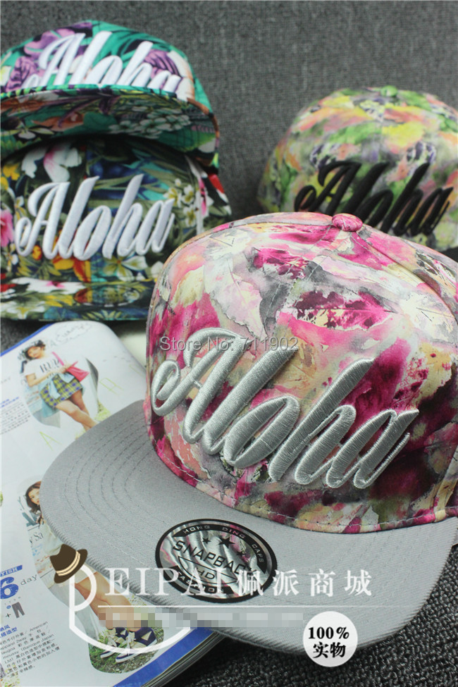 3D embroidery aloha flower leaves Flat brim snapback baseball cap pu hip hop hat Men Women
