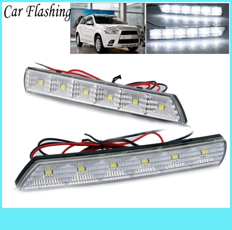 Car Flashing 1Set For Mitsubishi ASX 2010 2011 2012 LED DRL Daytime Running Lights Daylight Waterproof