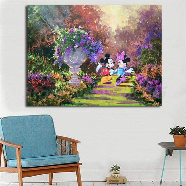 Merveilleux Mickey Minnie Mouse Colorful Garden HD Wall Art Canvas Posters Prints  Painting Wall Pictures For Modern