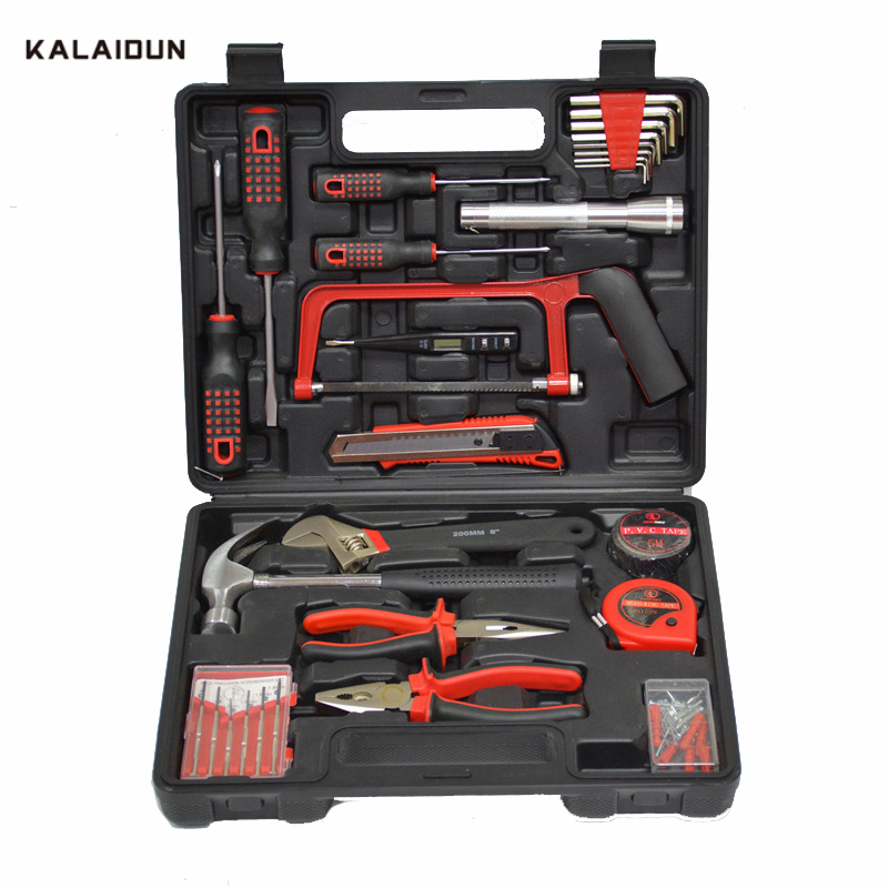 KALAIDUN 32pcs Combination Hand Tools Set Professional Hardware Toolbox Screwdriver  Plier Hammer Repair Kit Storage Case
