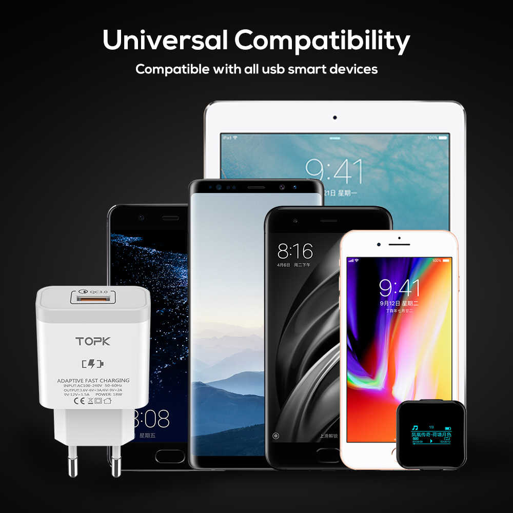 TOPK 18W Quick Charge 3.0 Fast Mobile Phone Charger EU Plug Wall USB Charger Adapter for Samsung Galaxy S8/S8+ Xiaomi Huawei