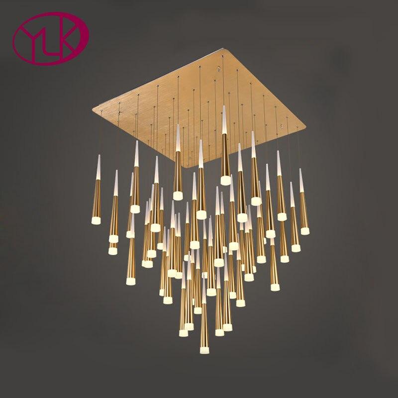 Youlaike современные светодио дный светодиодные люстры для гостиная длинные лестницы висит люстра осветительное оборудование золото/серебро ...