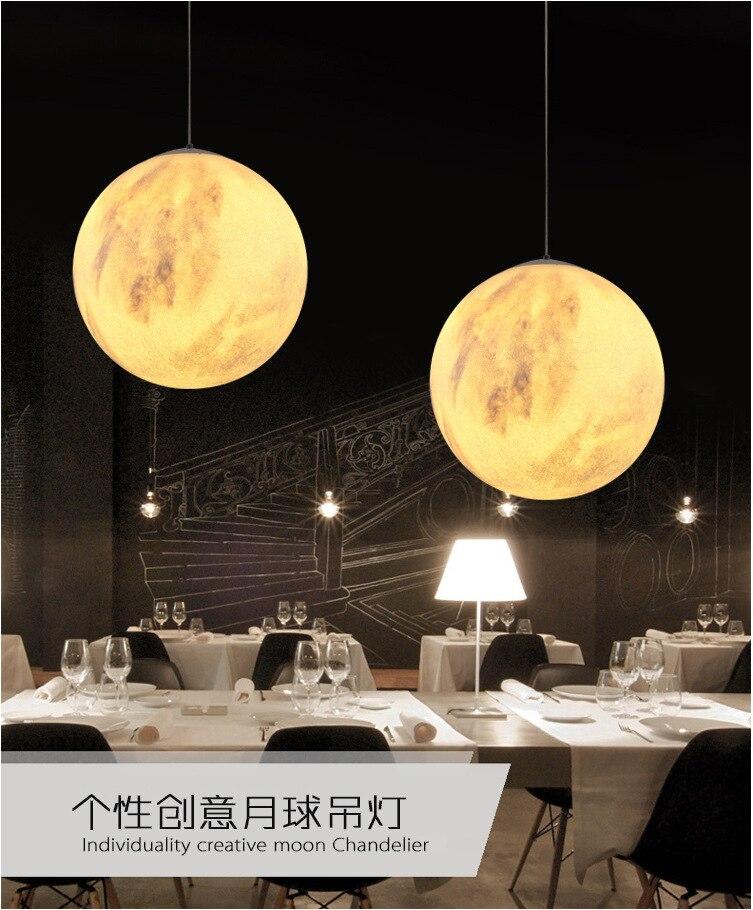 Creative 3D Print Pendant Lights Novelty Moon Atmosphere Night Light Lamp Restaurant/Bar Hanging Lighting - 3